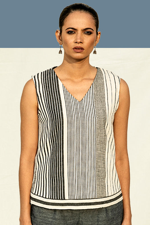V Neck Striped Top in Organic Cotton by Vegan Fashion Brand in India, Lake Peace