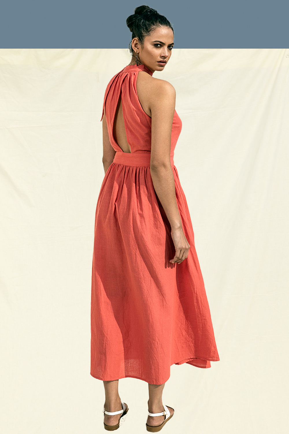 Organic Cotton Ankle Length Maxi Dress in Coral