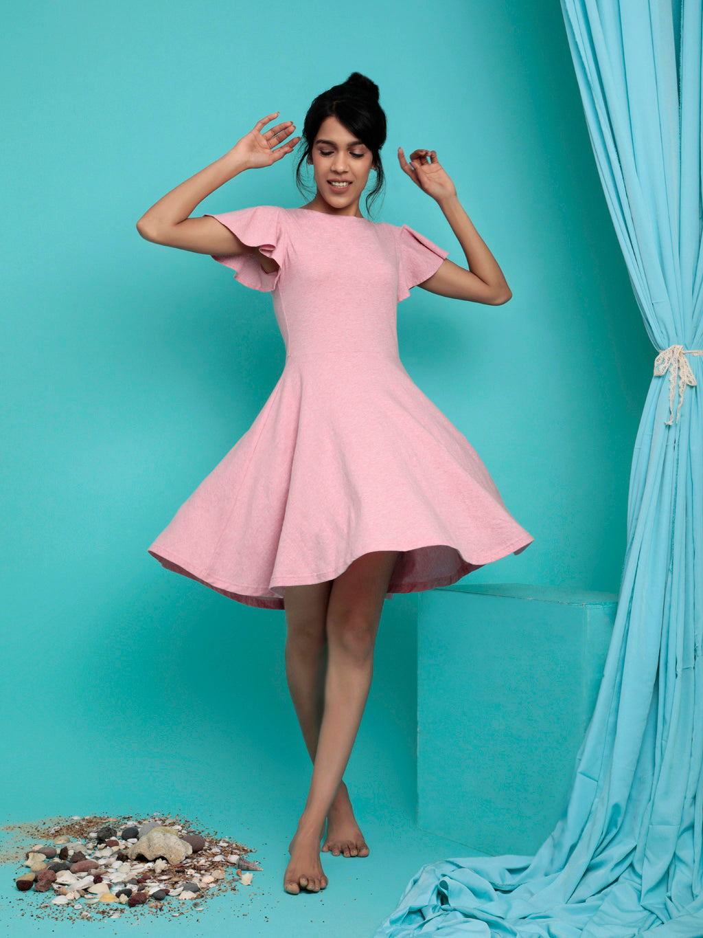 Organic Cotton Skater Dress Blush Pink