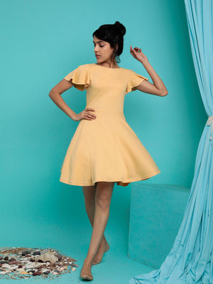 Organic Cotton Skater Dress Yellow
