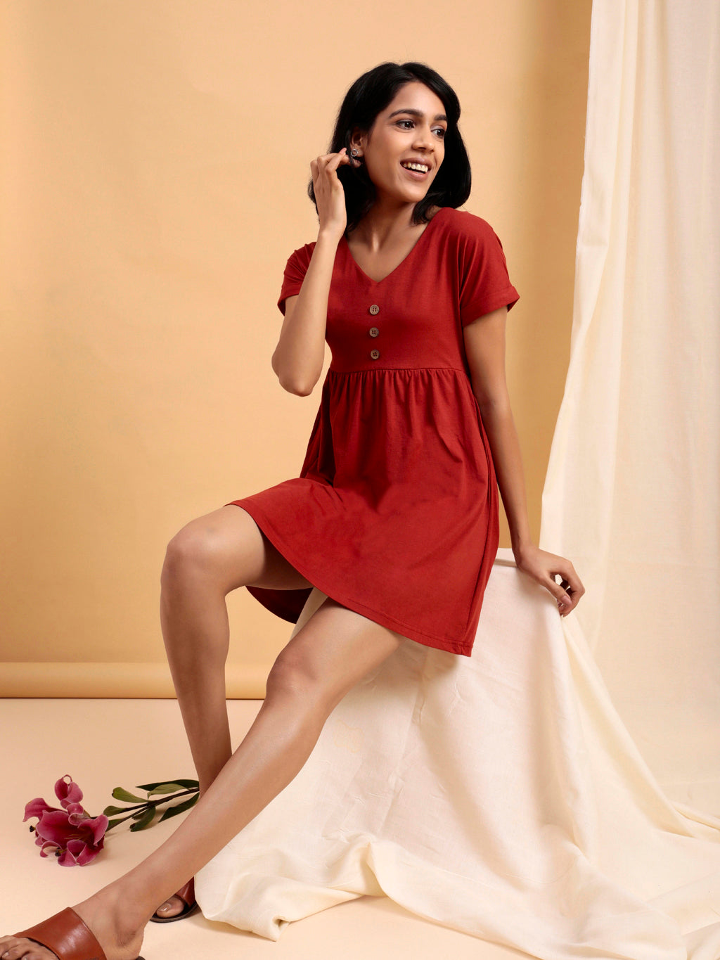 Organic Cotton Fit and Flare Dress Rust