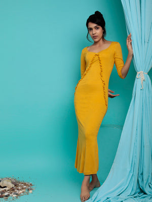 Organic Cotton Ankle Length Fitted Maxi Dress Mustard