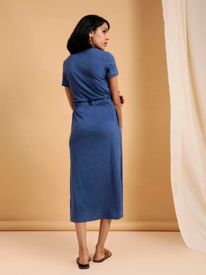 Organic Cotton Midi Dress with Slit Blue