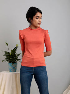 Coral High Neck Top