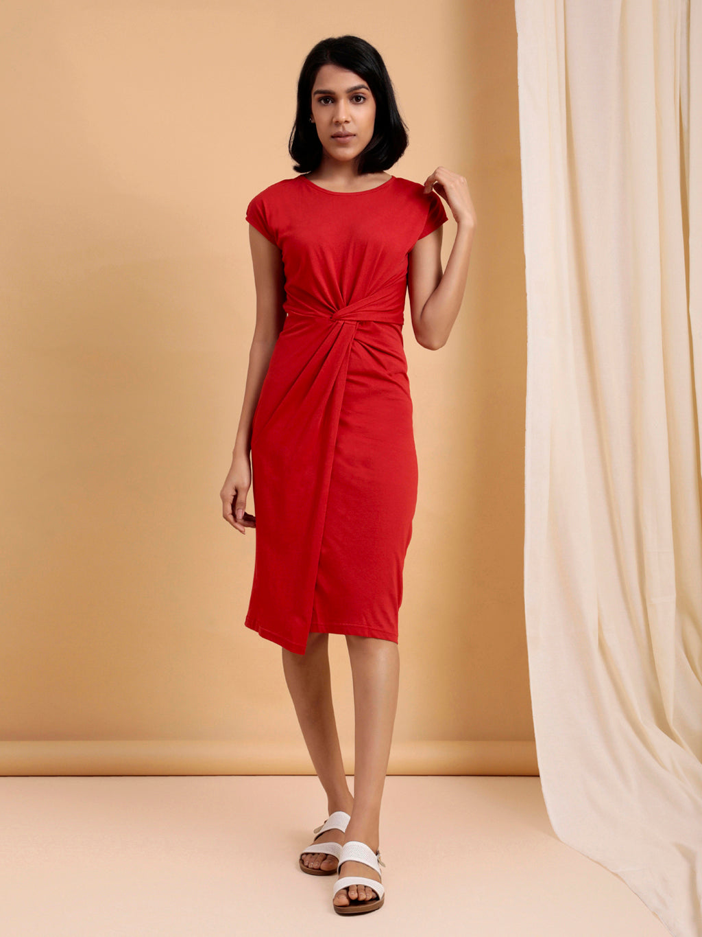 Organic Cotton Knotted Waist Bodycon Dress Red