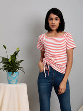 Load image into Gallery viewer, White Stripe Drawstring Tee