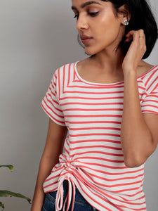 White Stripe Drawstring Tee