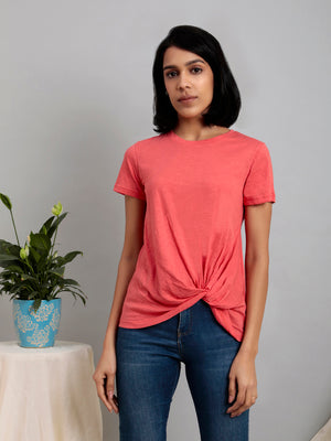 Organic Cotton Round Neck Twist Hem Tee Pink