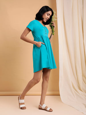 Organic Cotton Fit and Flare Dress Turquoise