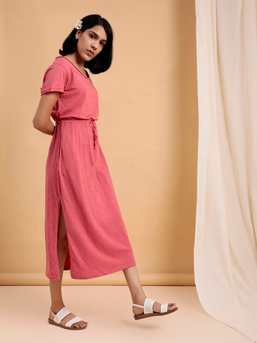 Organic Cotton Midi Dress with Slit Pink