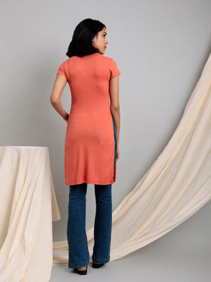 Organic Cotton High Slit Longline Top Coral