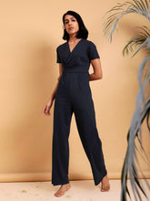 Load image into Gallery viewer, Navy Wrap Jumpsuit