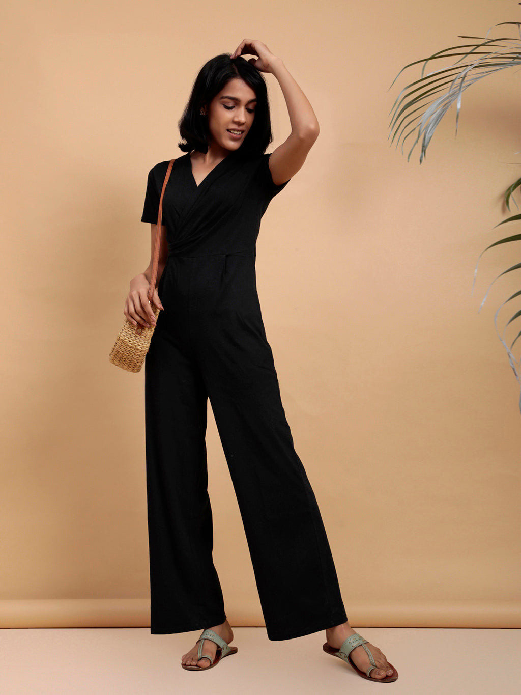 Organic Cotton Wrap Jumpsuit Black