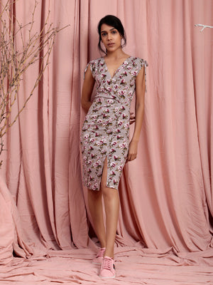 Organic Cotton Floral Bodycon Dress With Slit Grey Multi