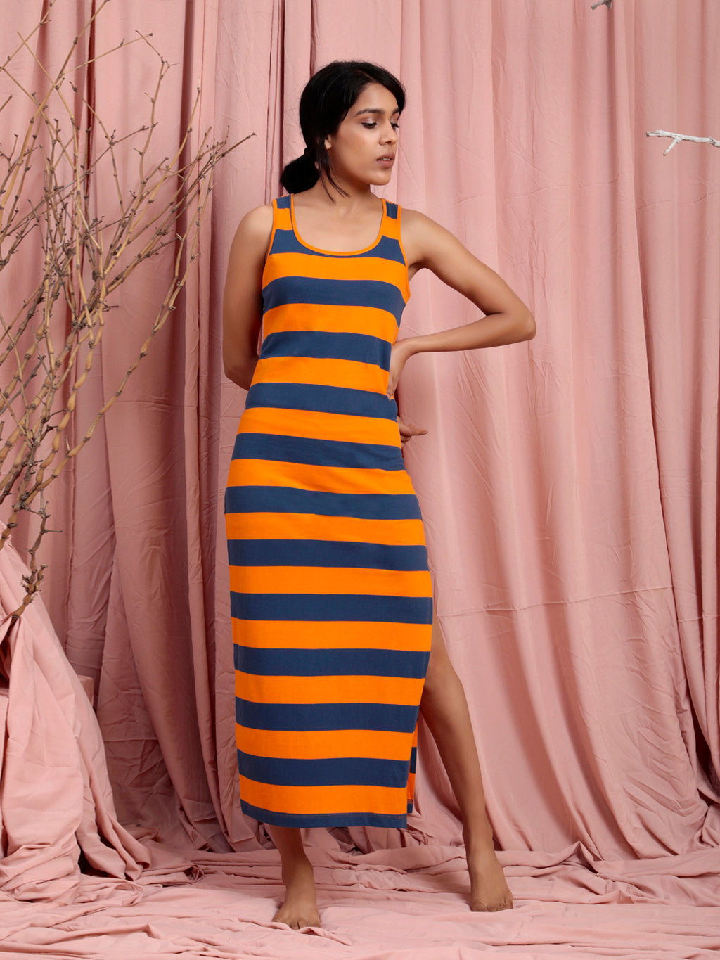 Organic Cotton Long Tank Dress Orange Navy Stripe