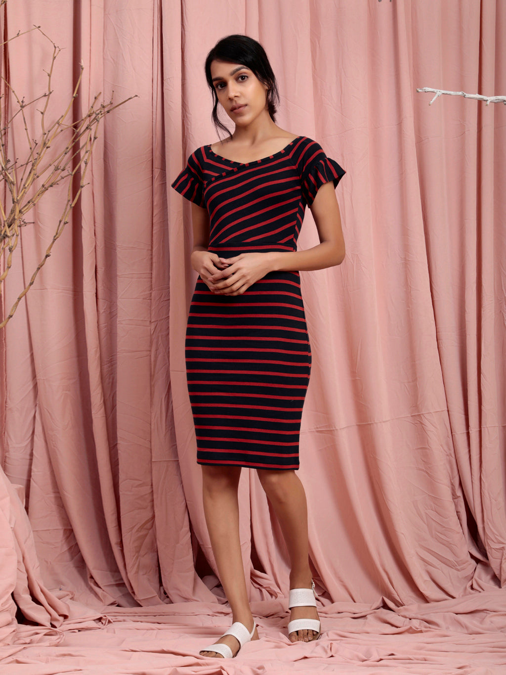 Organic Cotton Stripe Bodycon Dress Navy