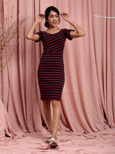Load image into Gallery viewer, Navy Stripe Bodycon Dress
