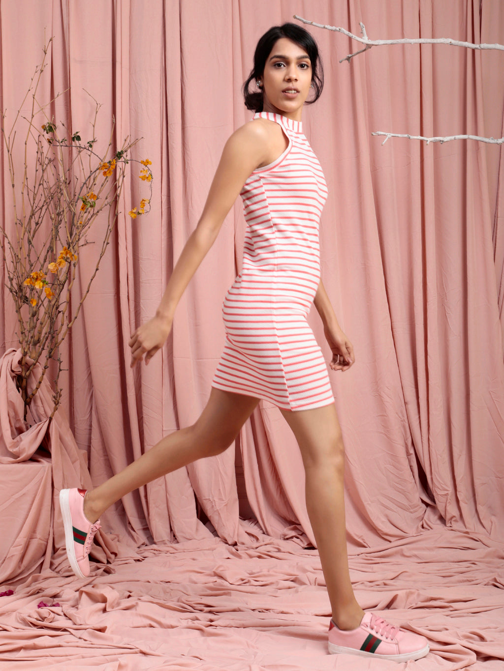 Organic Cotton Halter Neck Bodycon Dress PINK WHITE STRIPE