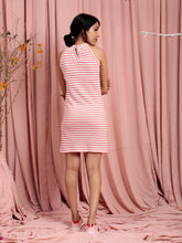 Load image into Gallery viewer, White Stripe Halter Neck Bodycon Dress
