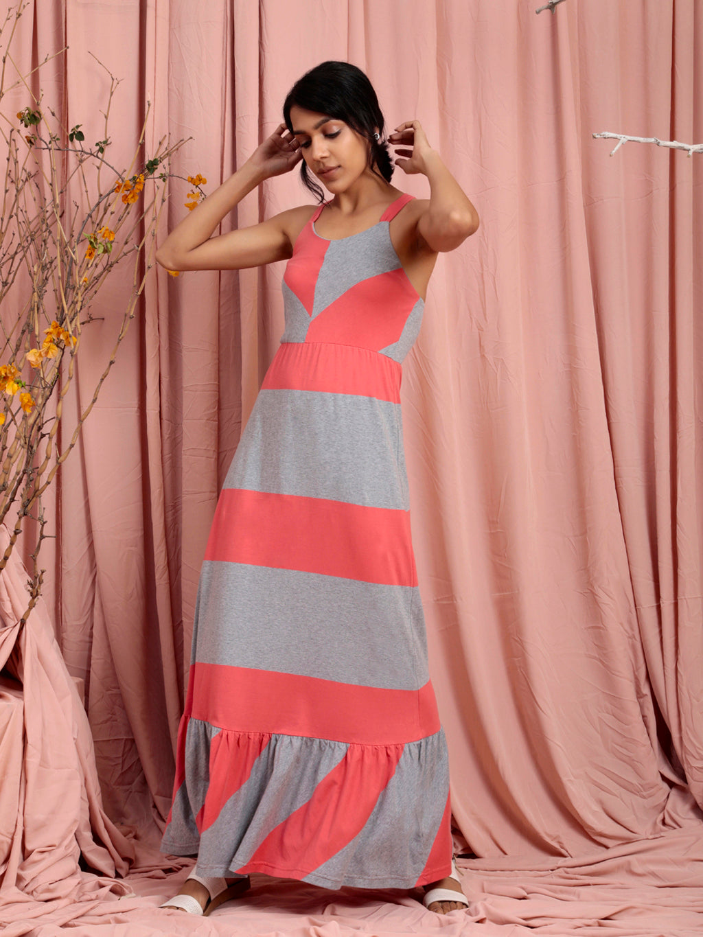 Organic Cotton Flared Maxi Dress Grey Coral Stripe
