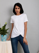 Load image into Gallery viewer, White Round Neck Twist Hem Tee