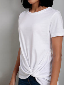 White Round Neck Twist Hem Tee