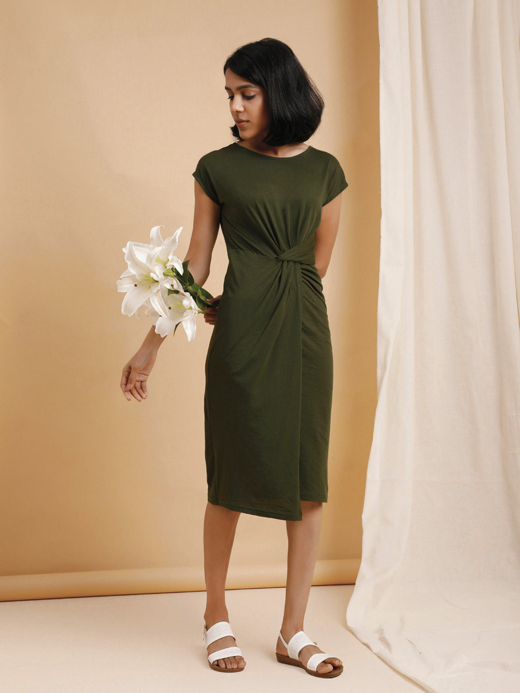 Organic Cotton Knotted Waist Bodycon Dress Dark Green