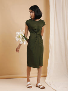 Dark Green Knotted Waist Bodycon Dress