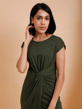 Load image into Gallery viewer, Dark Green Knotted Waist Bodycon Dress