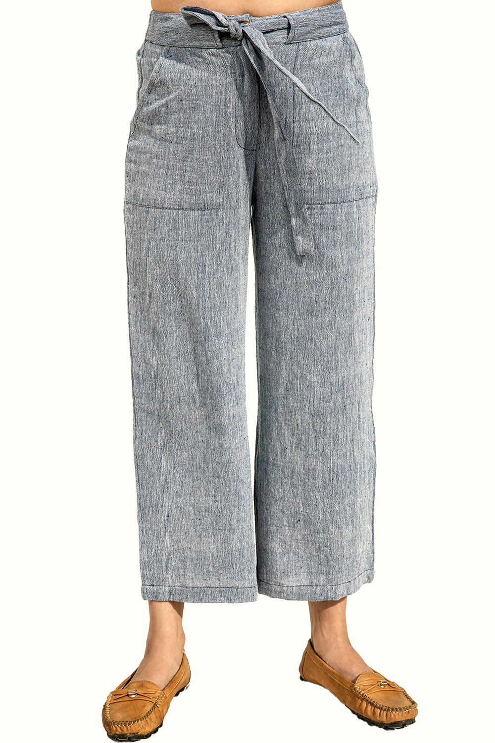 Blue Organic Cotton Culotte Trousers for Women