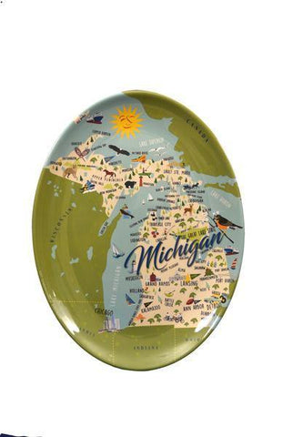 "Michigan 16"" Oval Platter NEW - Leon & Lulu"