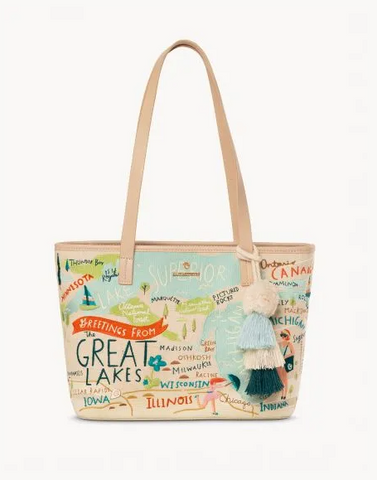 Great Lakes Embroidered Tote - Leon & Lulu