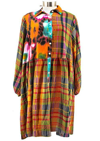 Mixed Print Shirt Dress - Leon & Lulu