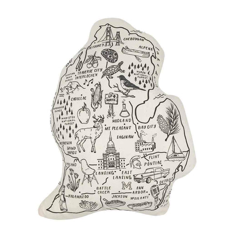 Michigan Shaped Pillow Wht/Blk - Leon & Lulu - Shop Now