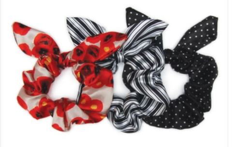 3 Pack, Poppy Bow Scrunchies - Leon & Lulu - Shop Now