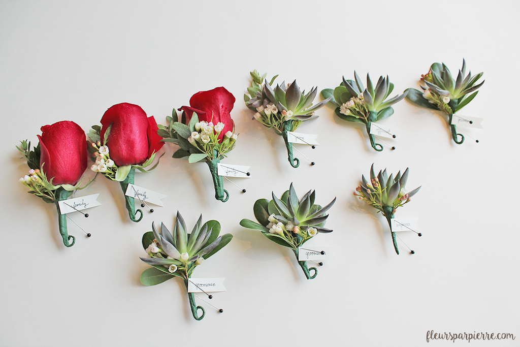 Succulent boutonnieres for groom and groomsmen