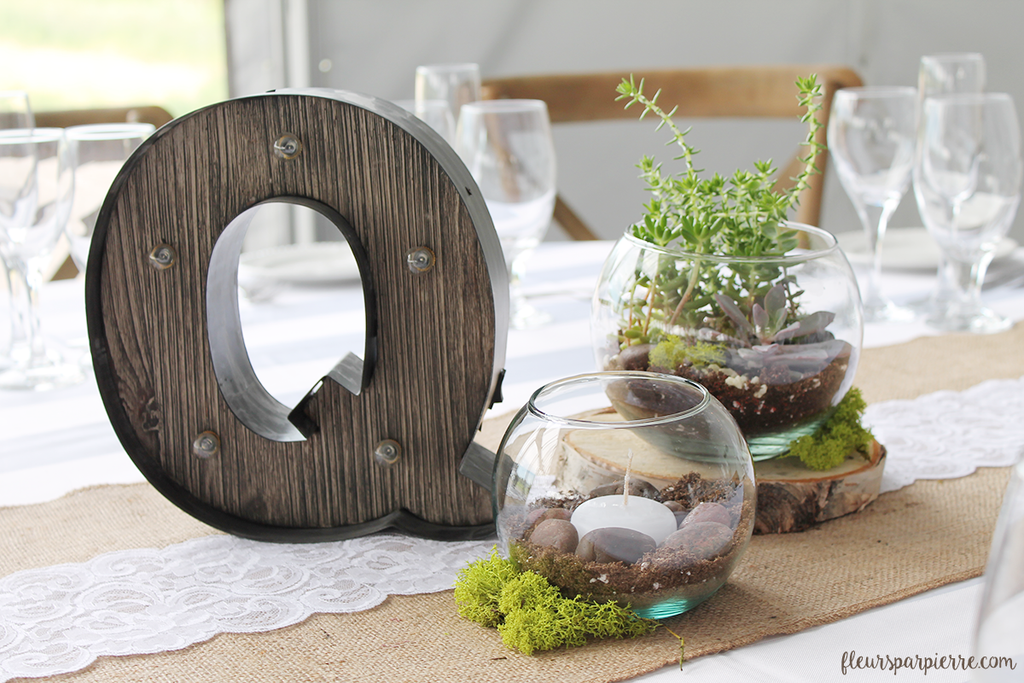 Succulent terrariums for a rustic wedding