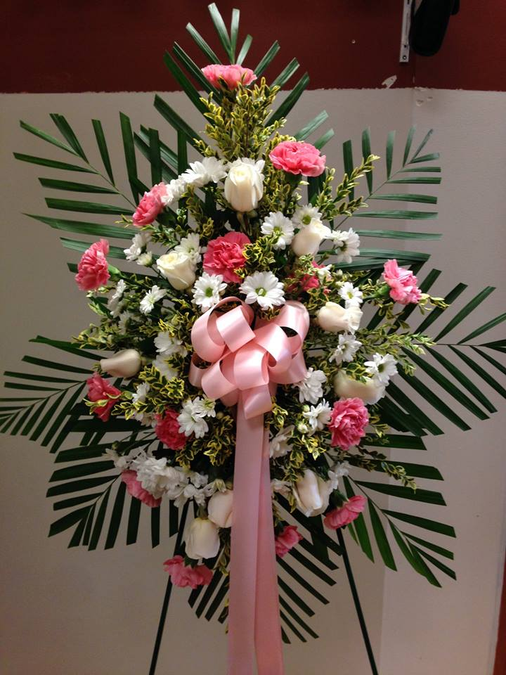 Funeral Standing Spray in White and Pink