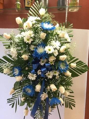Funeral Standing Spray in White and Blue