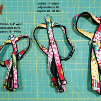 Hibiscus White Red and Bird of Paradise Harness - Tiki Pet Collars made on Kauai, Hawaii