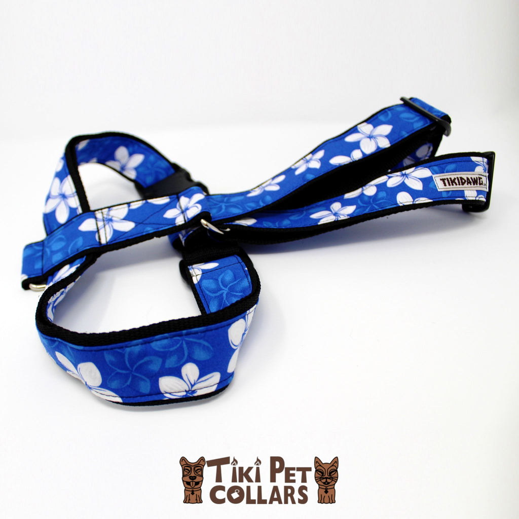 Plumeria White Harness (Royal and Turquoise only) - Tiki Pet Collars made on Kauai, Hawaii