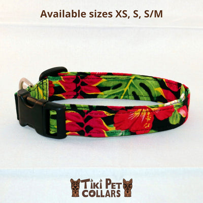 Heliconia Tropical Garden Dawg Collar - Tiki Pet Collars made on Kauai, Hawaii