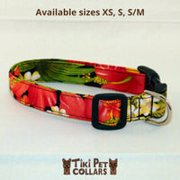 Hibiscus Orange and Palm Leaves Dawg Collar - Tiki Pet Collars made on Kauai, Hawaii
