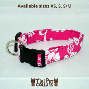 Hibiscus White Classic Dawg Collar - Tiki Pet Collars made on Kauai, Hawaii