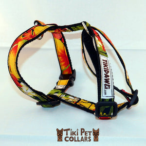 Hibiscus Orange and Palm Leaves Harness - Tiki Pet Collars made on Kauai, Hawaii