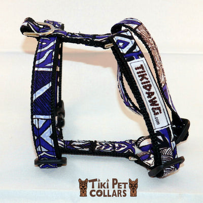 Tapa Design - Blue Harness - Tiki Pet Collars made on Kauai, Hawaii