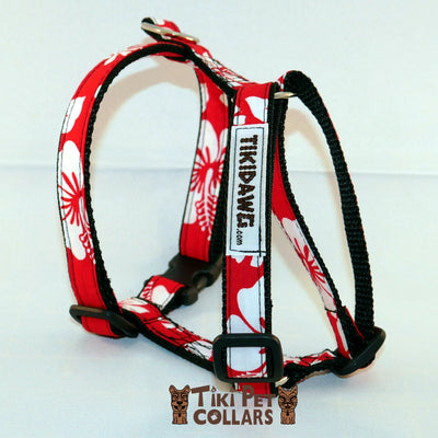 Hibiscus White Classic Harness - Tiki Pet Collars made on Kauai, Hawaii