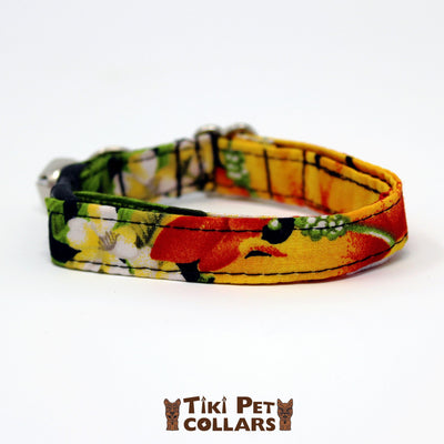Hibiscus Orange and Palm Leaves Kitti Collar - Tiki Pet Collars made on Kauai, Hawaii