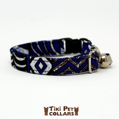 Tapa Design - Blue Kitti Collar - Tiki Pet Collars made on Kauai, Hawaii