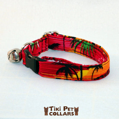 Hawaiian Sunset Kitti Collar - Tiki Pet Collars made on Kauai, Hawaii